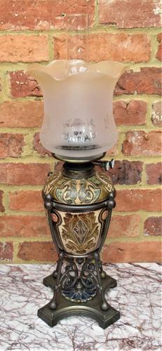 Superb Doulton Lambeth Oil Lamp by Mark V Marshall, 1881 (1 of 18)