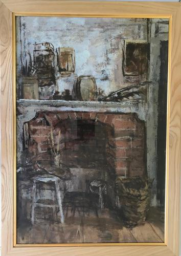 Original oil on canvas, laid on to board 'The old fire place' by Rozanne Palmer Framed c.1960 (1 of 3)