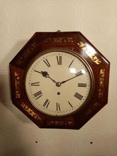 Unusual Rosewood Octagonal Fusee Wall Clock (1 of 5)