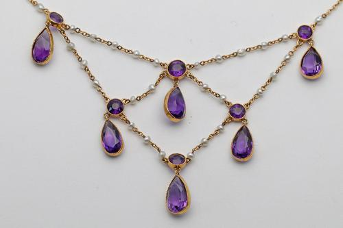 Art Nouveau Gold Festoon Necklace with Pearls & Amethysts (1 of 2)
