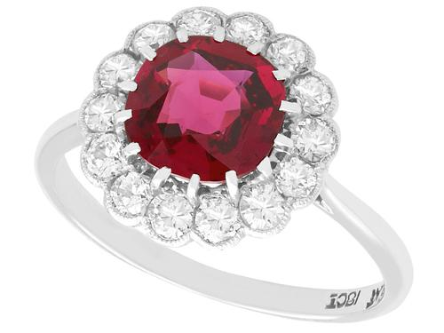 1.70ct Thai Ruby & 0.70ct Diamond, 18ct White Gold Cluster Ring - Vintage c.1950 (1 of 12)