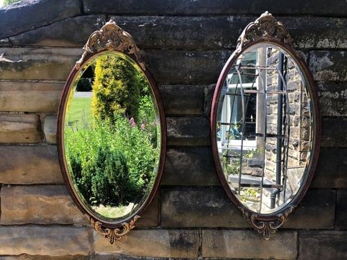 Pair of Quality Walnut & Parcel Gilt Oval Wall Mirrors (1 of 9)