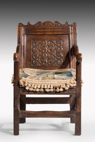 Charles II Style Oak Panelled Armchair (1 of 5)