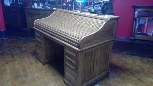Rare Arts & Crafts Roll Top Desk with Unusual Exposed Tambour Action (1 of 6)