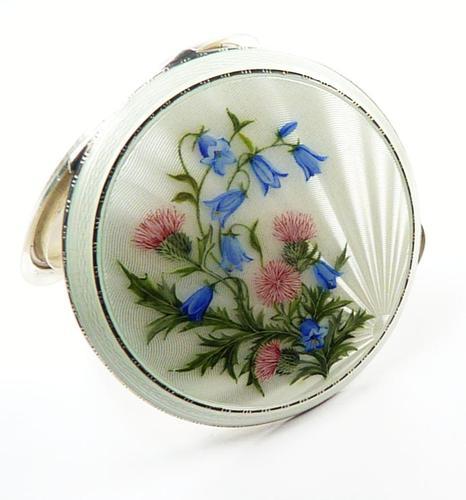 Antique Silver & Enamel Compact Mirror (1 of 7)