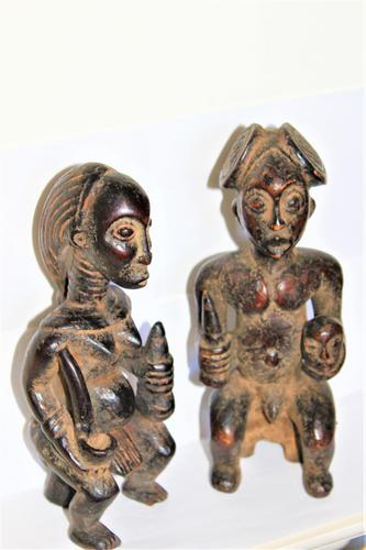 Delightful & Finely Carved Pair of Yoruba Wood Figurines (1 of 8)