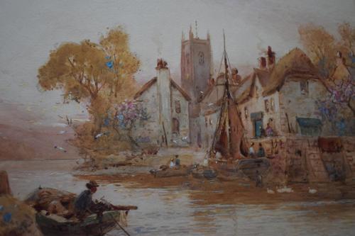 Walter Stuart LLOYD Fishing Village c1900 Watercolour (1 of 5)
