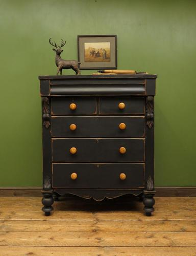 Antique Painted Black Chest of Drawers, Gothic Shabby Chic (1 of 14)