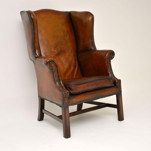 Antique Leather & Mahogany Wing Back Armchair (1 of 11)