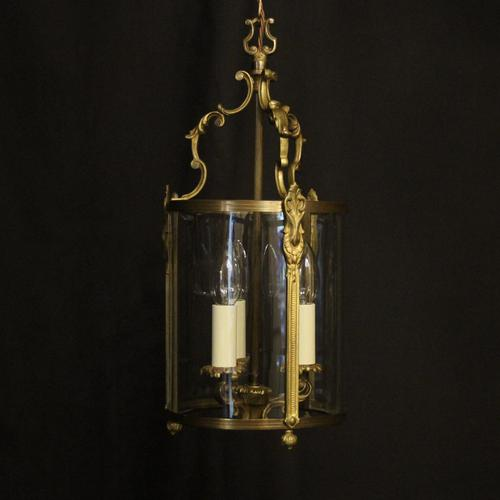 French Gilded Convex Triple Light Antique Hall Lantern (1 of 10)