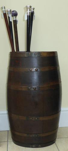 Edwardian Walking Stick Cane Umbrella Stand Coopered Oak Barrel (1 of 14)