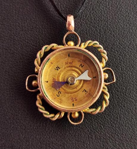 Antique 9ct Gold Compass Pendant, Carnelian (1 of 13)
