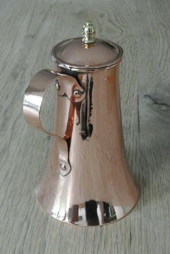 Fine Antique Copper Lidded Coffee Pot Acorn Finial Castellated Seam Georgian (1 of 8)
