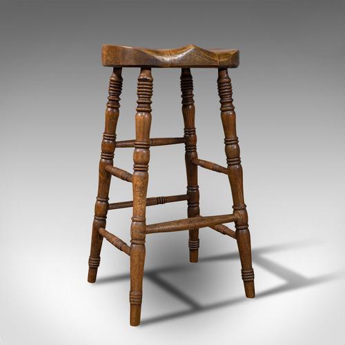 Antique Artist's Stool, English, Beech, Ash, Saddle Seat, Victorian c.1900 (1 of 12)