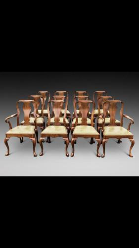 Set of 12 Queen Anne Style Dining Chairs (1 of 3)