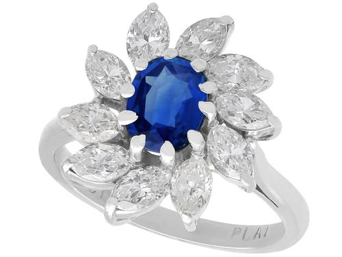 1.20ct Sapphire & 2.35ct Diamond, 18ct White Gold Cluster Ring - Vintage c.1960 (1 of 9)