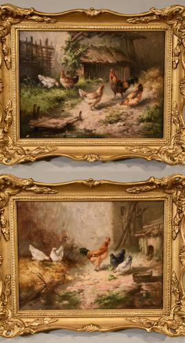 """Oil Painting by Louis Marie Lemaire """"Chickens in a Farmyard"""" (1 of 9)"""
