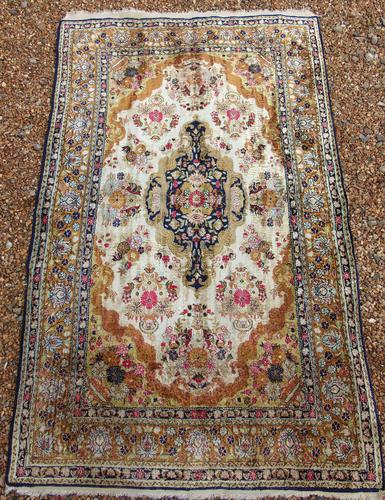 Antique Kashmir Silk Carpet (1 of 8)