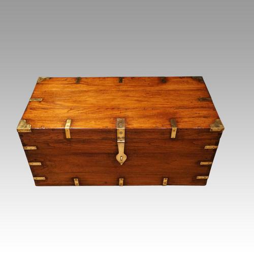 Victorian brass bound teak military chest (1 of 7)