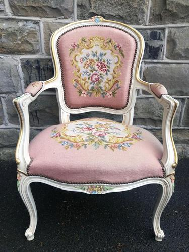 Antique French Polychrome Painted Desk Chair (1 of 8)