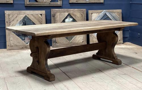 Larger French Bleached Oak Trestle Farmhouse Dining Table (1 of 21)