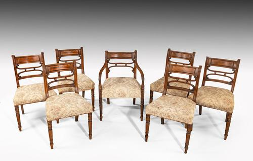 Set of Seven Regency Period Mahogany Framed Chairs (1 of 5)