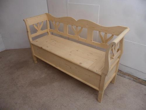 Tulip 2/3 Seater Antique Pine Hall / Kitchen Box / Settle/Bench to wax / paint (1 of 9)