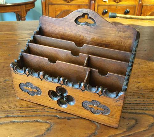 Gothic Walnut Letter Rack (1 of 7)