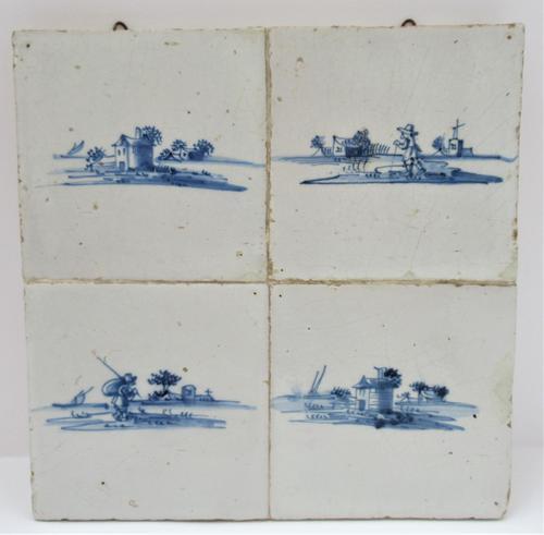 Panel of four Dutch Delft landscape tiles, c1750 (1 of 9)