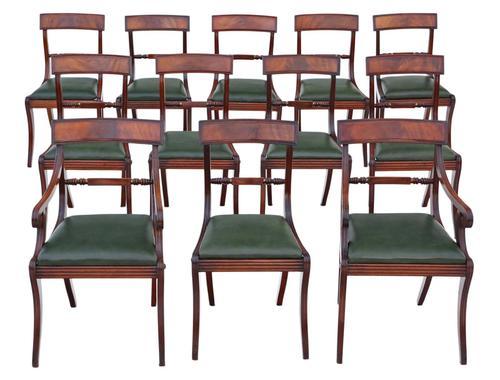 Set of 12 Regency Mahogany Dining Chairs 19th Century (1 of 8)