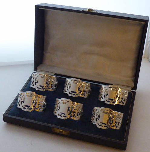 Boxed Set of 6 Sterling Solid Silver Napkin Rings Serviette Ring 173g c.1940 (1 of 6)