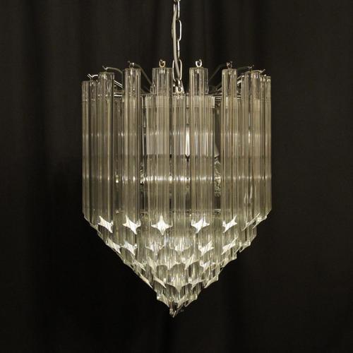 Italian Venini Crystal Triple Light Chandelier (1 of 10)