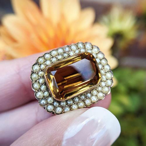 Antique Edwardian 9ct Gold Citrine & Pearl Brooch, Chester 1902 (1 of 9)