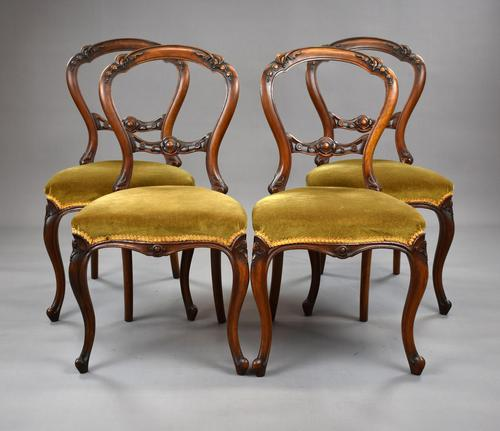 Set Four Walnut Dining Chairs (1 of 11)
