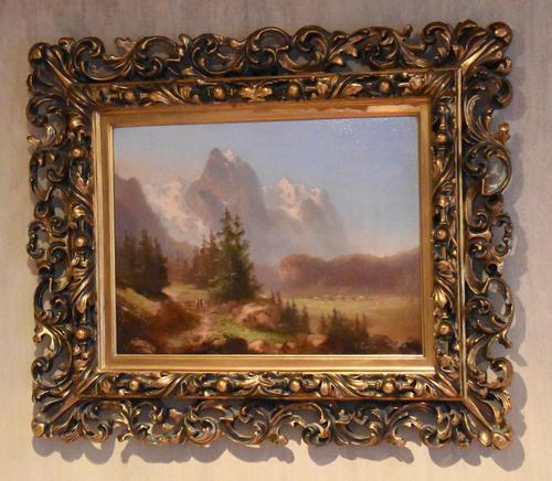 Swiss Alpine scene oil painting (1 of 8)