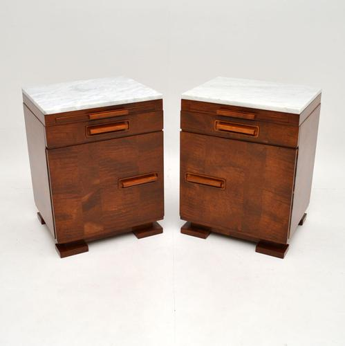 Pair of Art Deco Satin Birch Marble Top Bedside / Side Cabinets (1 of 11)