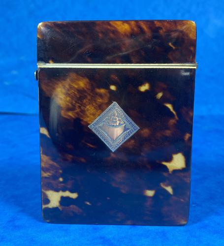 Victorian Tortoiseshell Card Case With Silver Inlay (1 of 13)