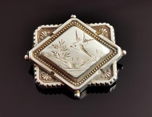 Victorian Silver Swallow Locket Brooch (1 of 11)