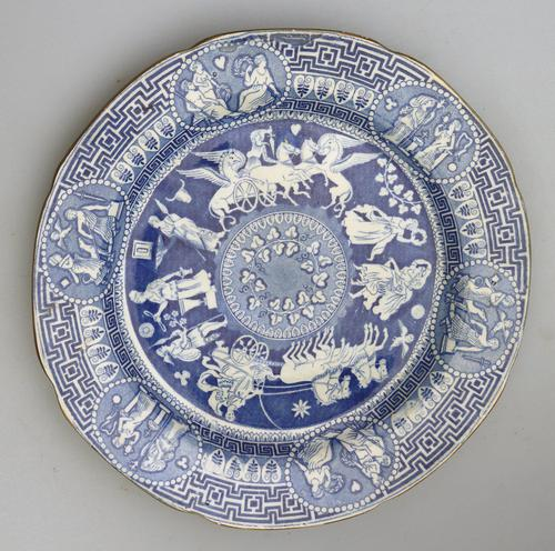 Rare Staffordshire Pearlware Herculaneum Greek Pattern Transferware Plate 1815 (1 of 4)