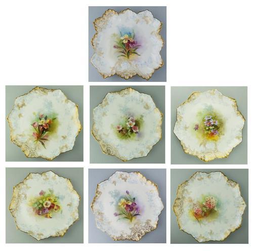 Good Royal Doulton Burslem Hand Painted Dessert Set 19th Century (1 of 12)