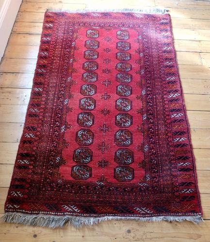 Handmade Bokhara wool rug vibrant red ground (1 of 11)