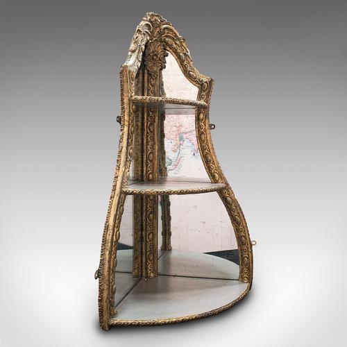 Antique Mirrored Corner Shelf, English, Gilt Gesso, Decorative Display, Regency (1 of 9)