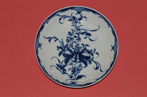 Worcester 1st Period 'Mansfield Pattern' Blue & White Saucer  c1760-80 (1 of 3)