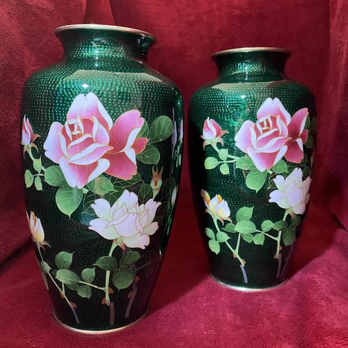 Taisho Period Pair of Japanese Cloisonne Vases (1 of 8)