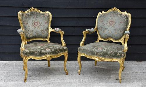 Beautiful Matched Pair of Fine Quality French Gilt Armchairs c.1900 (1 of 16)