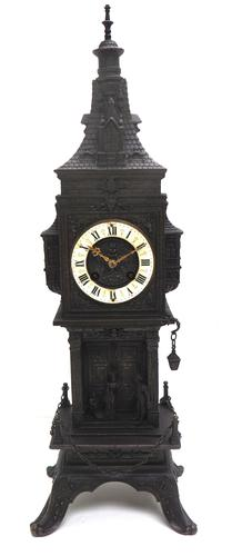 Antique French Tower Model 8-day Gothic Tower Mantle Clock (1 of 13)