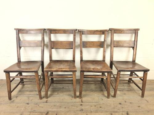 Set of Four Victorian Elm Chapel Chairs (1 of 8)