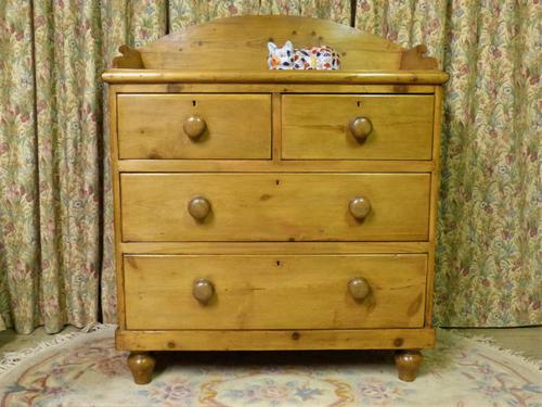 Victorian Stripped Pine Chest of Drawers with Shaped Upstand & Wooden Knobs (1 of 8)