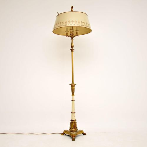 Antique French Tole Floor Lamp & Shade (1 of 11)