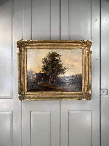 Antique Victorian Landscape Oil Painting of Inn with Figures (1 of 10)